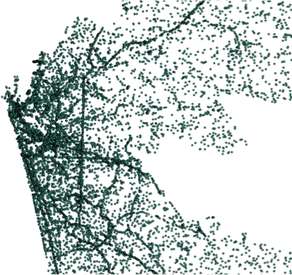 Car locations as detected by software from a satellite image. Auto density drops farther away from the center of the city.