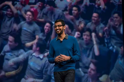 Sundar Pichai, senior vice president of products for Google Inc., speaks during the Google I/O Annual Developers Conference in San Francisco, California, U.S., on Thursday, May 28, 2015. Google Inc. unveiled payment services, security upgrades and access to HBO movies and shows for its popular Android software, seeking to push back against growing competition from rivals such as Apple Inc.
