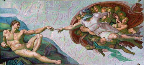 Looking at a DeepDream-inflected version of a familiar painting, like this one from Michelangelo, gives you a good sense of what can happen.