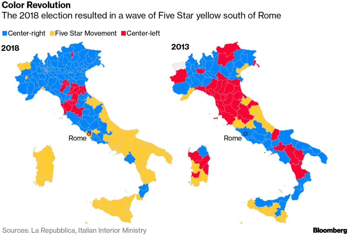 Map Of South Of Italy.Italy S Populists Redraw Political Map Split Country In Half