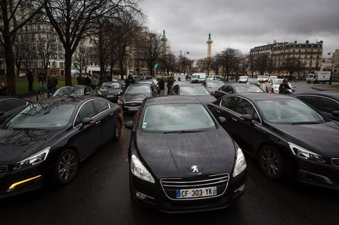 Uber drivers protest in Paris on Feb. 9.