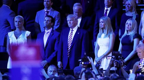 Donald Trump and family members listen to Ted Cruz speak on July 20, 2016, at the Quicken Loans Arena in Cleveland.