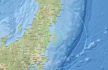 A magnitude 7.3 earthquake struck Japan off the coast of Fukushima. Source: USGS