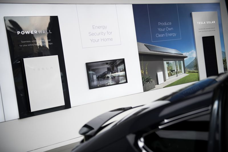 A Powerwall Battery And Solar Panels Are Displayed At The New Tesla Inc.  Showroom In New York.