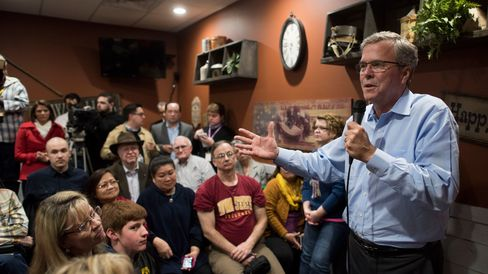 Jeb Bush speaks during an event at a Pizza Ranch restaurant in Cedar Rapids, Iowa, on March 7, 2015.