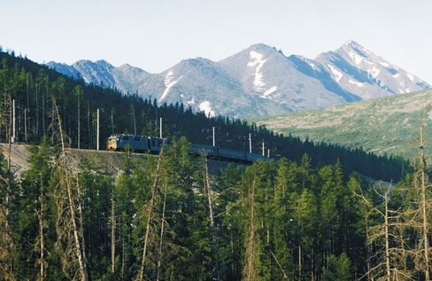 A passenger train on the Trans Siberian Railway in the Kemerovo region of Russia.