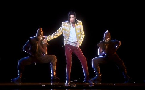 A holographic image of Michael Jackson performs onstage during the 2014 Billboard Music Awards at the MGM Grand Garden Arena in May 2014.