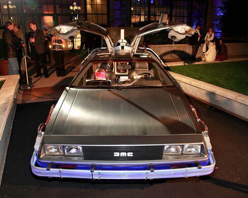 "The DeLorean DMC-12 from the movie ""Back To The Future."""