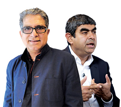 "Sikka (right) brought in New Age guru Chopra to speak with SAP employees. ""Deepak challenges us to think about the bigger questions,"" he says"