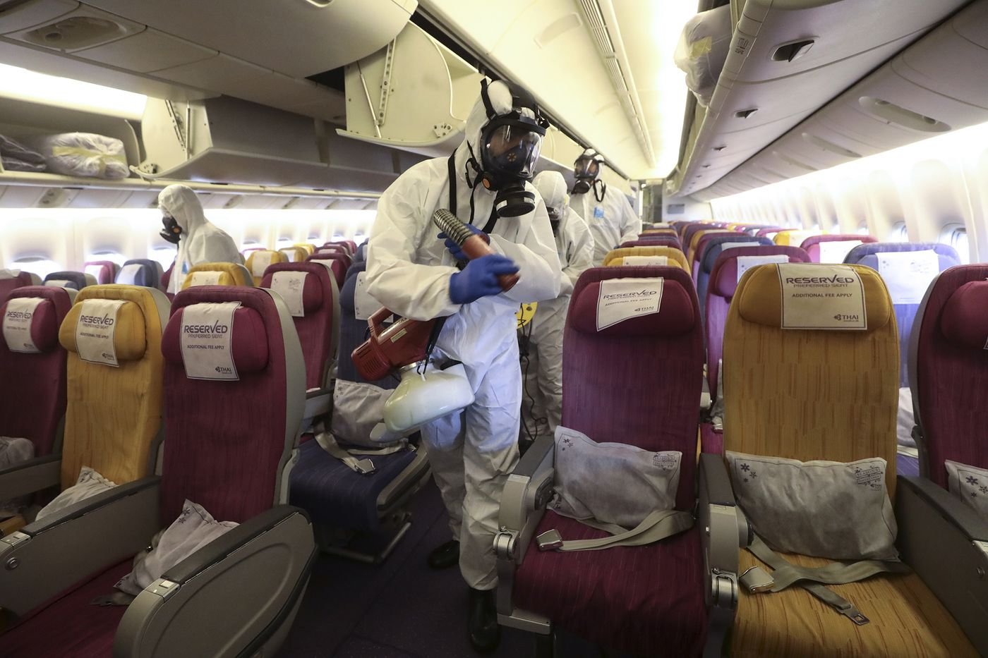 Thai Airways disinfection process in Samut Prakan, Thailand