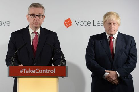 Michael Gove and Boris Johnson hold a press conference following the EU referendum vote on June 24.