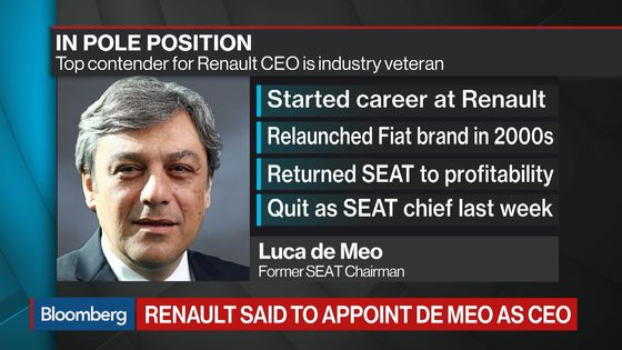 Renault Board to Meet Tuesday to Consider De Meo as CEO