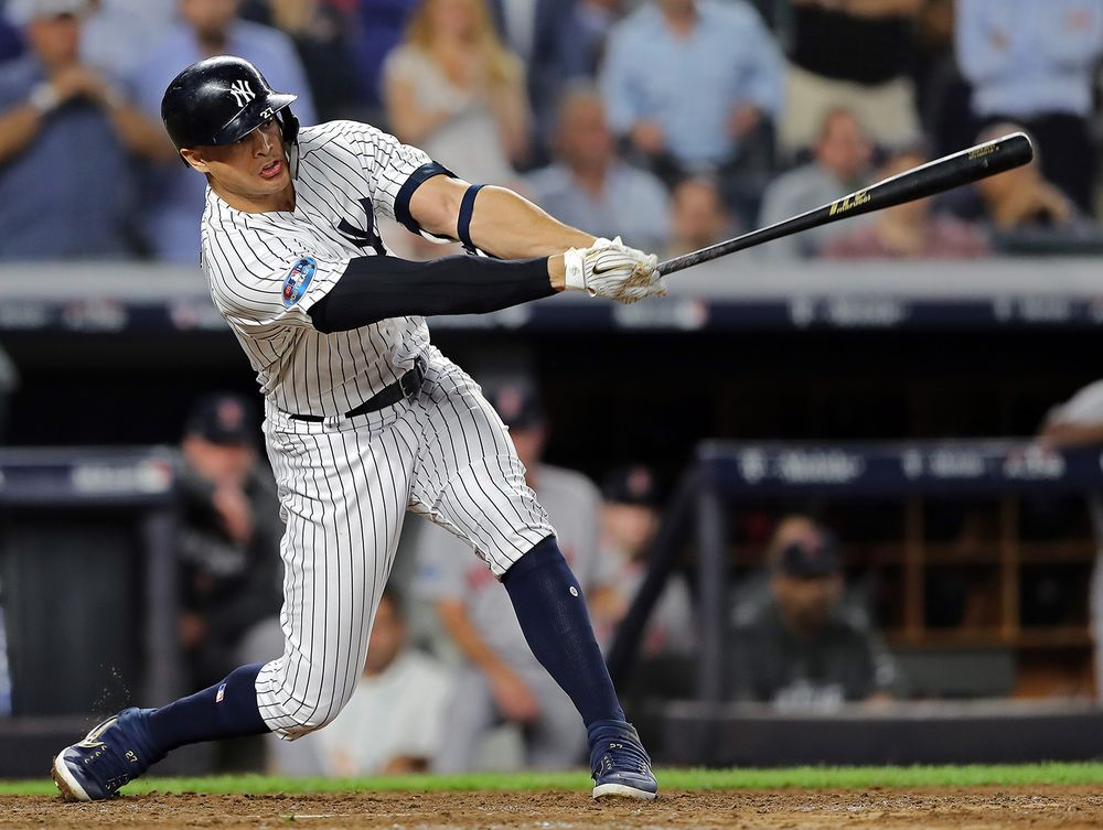 Giancarlo Stanton of the New York Yankees plays on Oct. 9 b1850907c0c