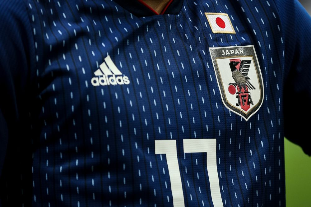 Detail on the Japan Adidas World Cup 2018 shirt during the international  friendly match between Brazil c67a29696