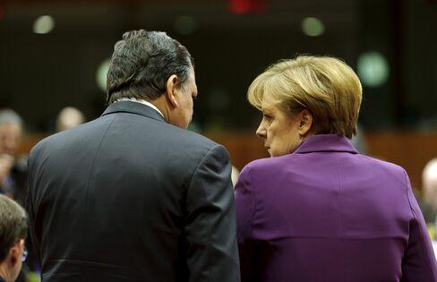 Angela Merkel and Jose Manuel Barroso