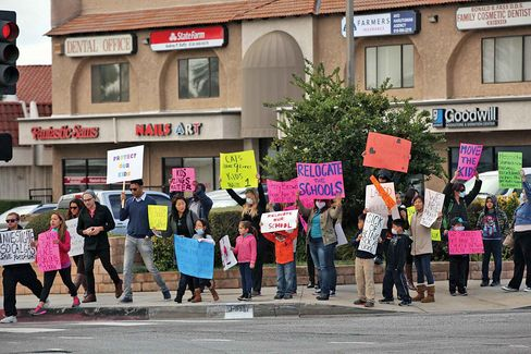 Porter Ranch parents and students protest on Dec. 11.
