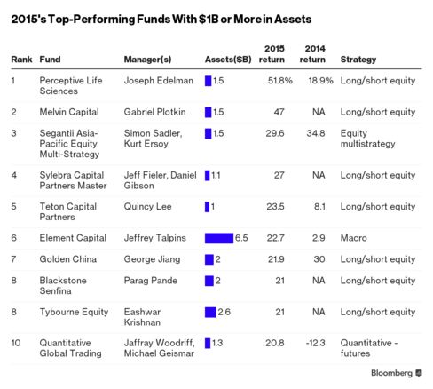 2015's Top Performing Funds With $1B or More in Assets