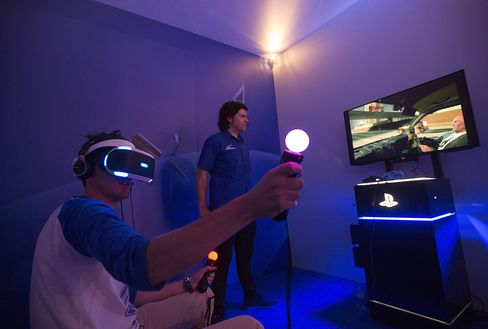 A gamer uses the Sony Corp. Playstation VR (virtual reality) at the EGX 2015 video gaming conference in Birmingham, U.K.