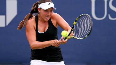 Jessica Pegula of the United States returns a shot against Alison Van Uytvanck of Belgium during their Women's First Round match on Day One of the 2015 US Open at the USTA Billie Jean King National Tennis Center on August 31, 2015 in the Flushing neighborhood of the Queens borough of New York City.