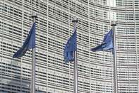 EU Flags Fly Outside The European Commission Building