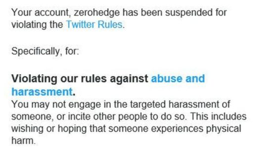 Zero Hedge Permanently Suspended From Twitter for 'Harassment'