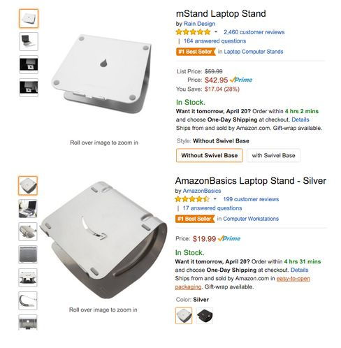An aluminum laptop stand from Rain Design Inc., top, and an Amazon laptop stand, sold under its Amazon Basics brand.