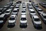 Vehicles sit parked outside the Nissan Motor Co. manufacturing facility in Smyrna, Tennessee, U.S.