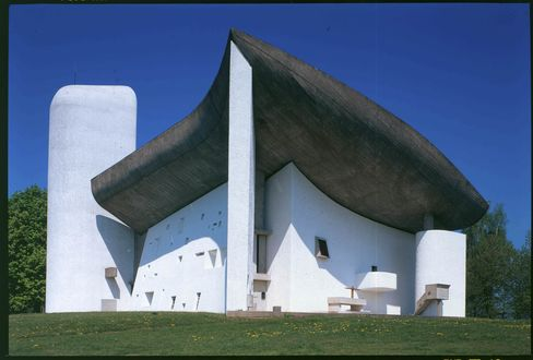 The chapel in Ronchamp, one of Le Corbusier's most unusual works.