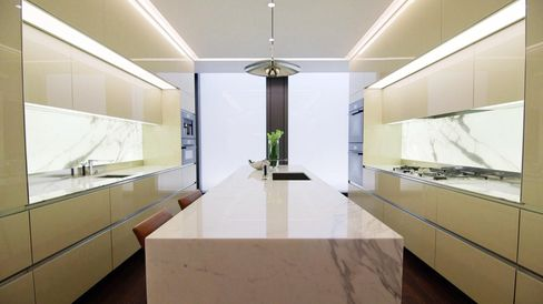 Glowing marble is a feature of the Despont-designed kitchens.
