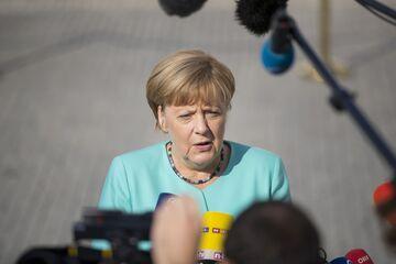 Angela Merkel, Germany's chancellor, speaks to journalists in Bratislava, Sep. 16