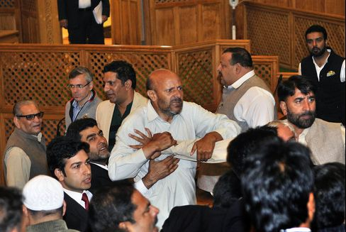MLA Thrashed In Jammu and Kashmir Assembly Assembly For Throwing A Beef Party