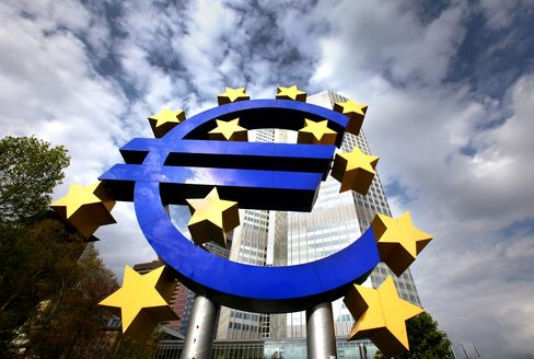 A euro sign sculpture outside the European Central Bank HQ