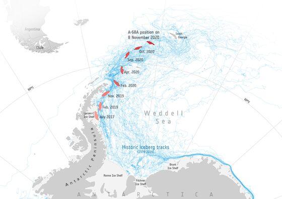 Giant Iceberg Gets Closer to Smashing Into South Atlantic Island