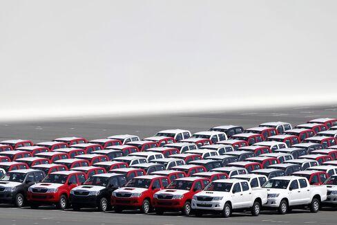 Toyota vehicles bound for shipment at Yokohama port