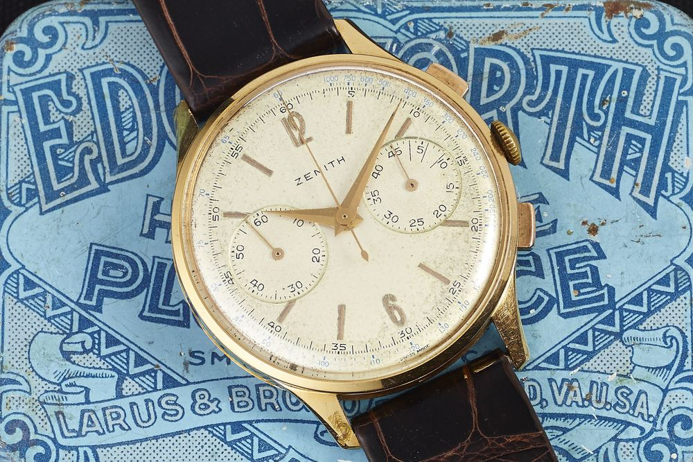 Monday Morning Find: Vintage Gold Zenith Chronograph, Oversize in the '50s, Just Right Today