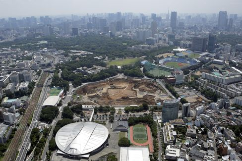 A construction site for a new stadium to replace the National Olympic Stadium, center, is seen in this aerial photograph taken in Tokyo. Photographer: Kiyoshi Ota/Bloomberg