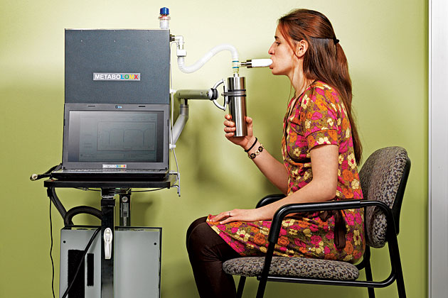 Metabolomx's machine requires patients to breathe in and out of a tube for four minutes