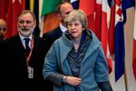 British Prime Minister Theresa May leaves a European Council meeting on Brexit.