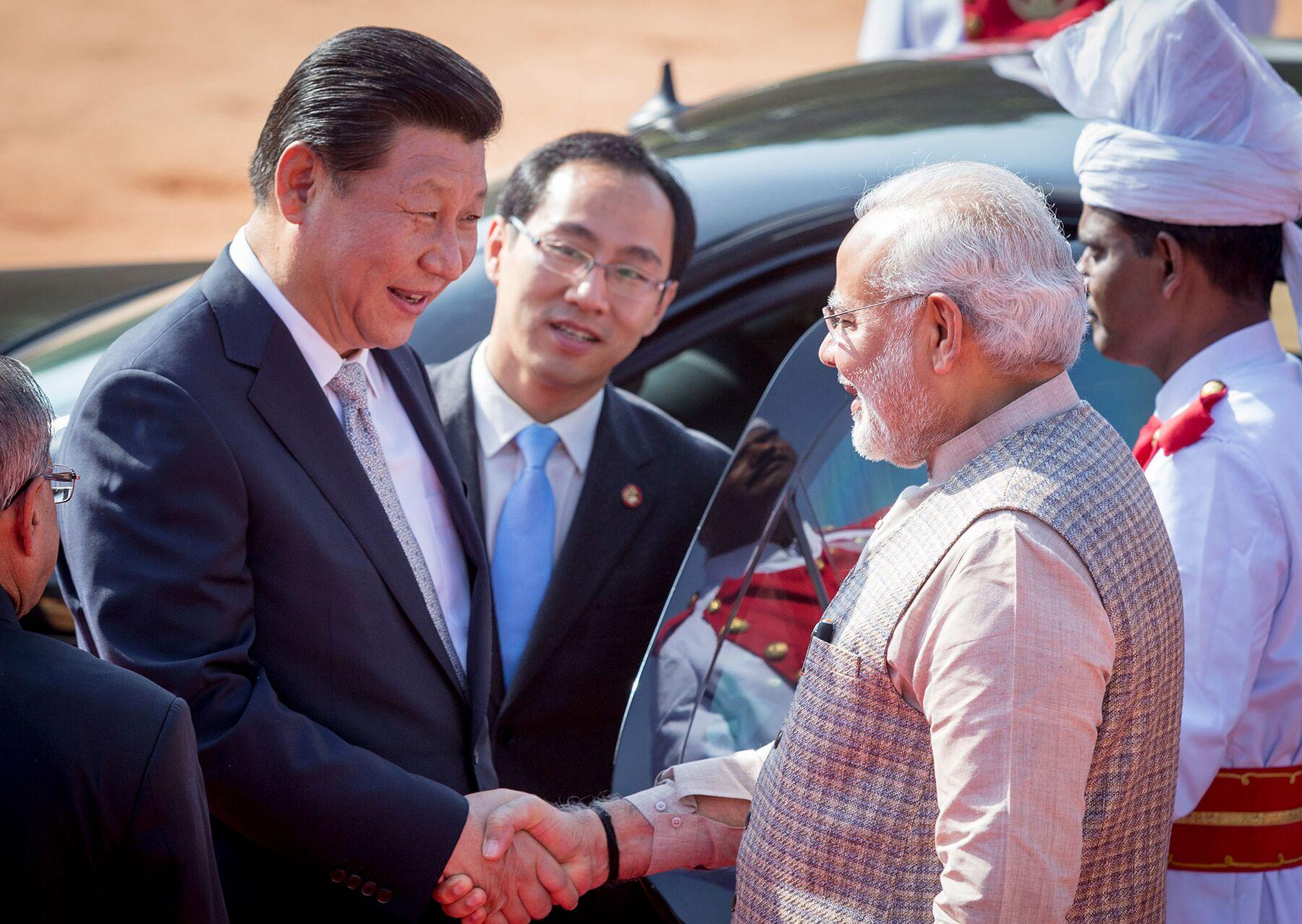 Xi Jinping and Narendra Modi in New Delhi in 2014.