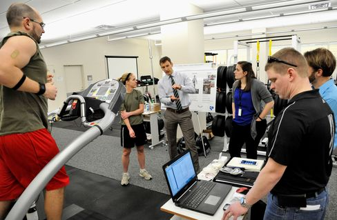 Testing a new sweat sensor prototype on the treadmill at Wright-Patterson Air Force Base, Ohio.