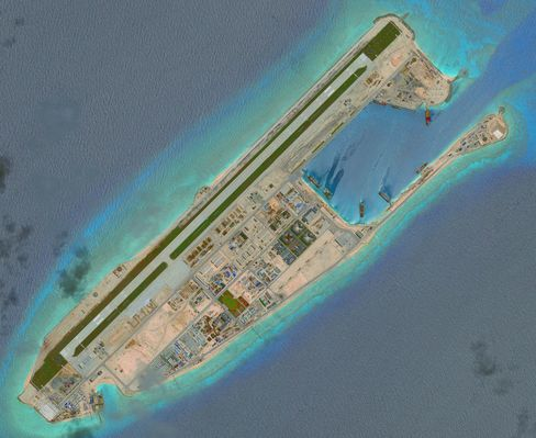 Satellite imagery of the Fiery Cross Reef, where China has built an airstrip, barracks and other facilities that can have military use.