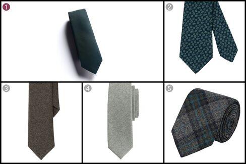 (1) Wool flannel necktie, Brooklyn Tailors, $85, brooklyn-tailors.com; (2)Petronius wool flannel print tie, Sid Mashburn, $185, sidmashburn.com;(3) Wool flannel tie, Polo Ralph Lauren, $125, ralphlauren.com; (4) Italian wool tie in medium grey, J.Crew, $69.50, jcrew.com; (5) Flannel necktie, Barneys, $155, barneys.com