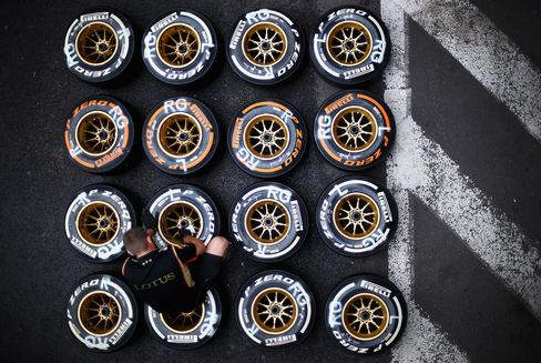 Pirelli tyres sit on the track prior to the Belgian Grand Prix at Circuit de Spa-Francorchamps in Belgium.
