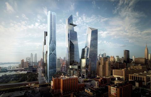 A rendering of the first phase of Hudson Yards.