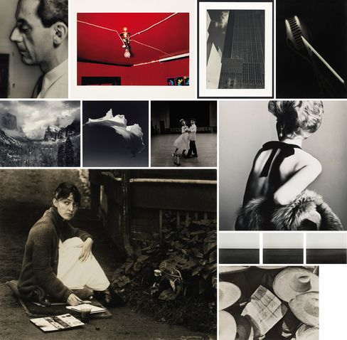 Clockwise from top left: Man Ray, Untitled (Self-Portrait with Camera), 1932; William Eggleston, Untitled (Greenwood, Mississippi), 1973; Edward Steichen, Rockefeller Center, c. 1932; László Moholy-Nagy, Photogram, 1925-28, printed circa 1929; Irving Penn, Woman with Bare Back, New York, 1961, printed in 1984; Hiroshi Sugimoto, Baltic Sea, Rügen' (Triptych), 1996; Tina Modotti, Property of Various Owners, 1929; Alfred Stieglitz, Georgia O'Keeffe, 1918; Ansel Adams, Portfolio VI; Robert Mapplethorpe, Calla Lily, 1988; Diane Arbus, National Junior Interstate Dance Champions, 1963.
