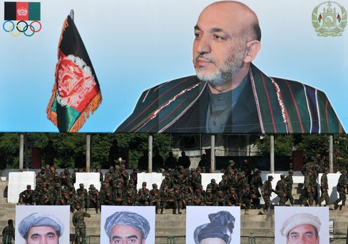 A picture of Afghan President Hamid Karzai