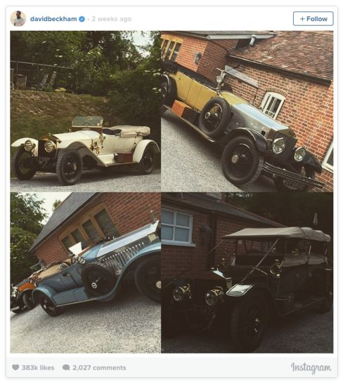 David Beckham likes to post vintage cars from his collection (and others) on his Instagram account.