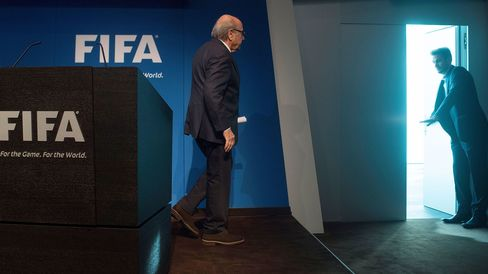 FIFA President Sepp Blatter leaves after a press conference at the headquarters of the world's football governing body in Zurich on June 2, 2015.