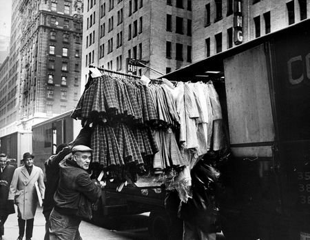 Martin Braunstein supervises loading of garments in the Garment District on Jan. 31, 1967.