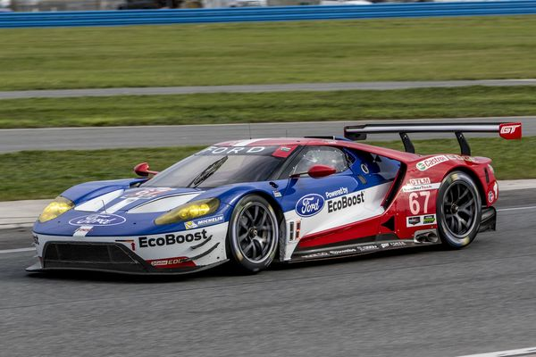 The  Ford Gt Of Ryan Briscoe Richard Westbrook And Stefan Mucke Drives On